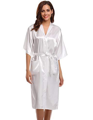 Aibrou Damen Satin Morgenmantel Kimono Lang Bademantel Schlafanzug Negligee Nachthemd Nachtwäsche Unterwäsche V Ausschnitt Mit Gürtel, Gr. M, Farbe: Weiß