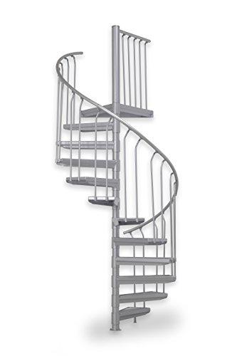 Außentreppe ST 130, feuerverzinkte Spindeltreppe, Stahltreppen Baukastensystem, 11 Stufen + 1 Podest, Ø 130 cm