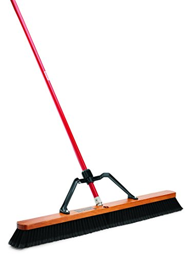 "Libman Commercial 850 Smooth Surface Heavy Duty Push Broom, 62"" Length, 36"" Width, Black/Red (Pack of 3)"