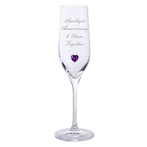 105899700–Chichi Geschenke 2Amethyst Jahrestag 6Jahre Zusammen Dartington Champagner Flöten Brille mit Amethyst Herz Gem