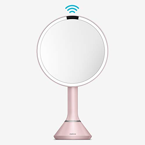 """simplehuman 8"""" Round Sensor Makeup Mirror with Touch-Control Brightness, 5x Magnification, Rechargeable and Cordless, Pink Stainless Steel"""