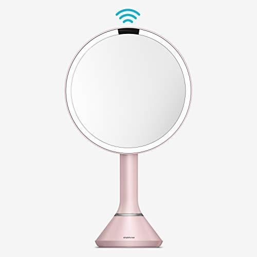 simplehuman, 20cm, Sensorspiegel mit Touch-Helligkeitsregelung,5-fache Vergrößerung, rosafarbener Edelstahl, 5 Jahre Garantie