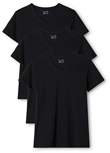 Berydale BD158 Camiseta de manga corta con cuello de pico, Schwarz/Schwarz, XL, Pack de 3