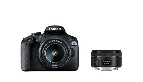 Canon EOS 2000D Spiegelreflexkamera (24,1 MP, DIGIC 4+, 7,5 cm (3,0 Zoll) LCD, Display, Full-HD, WIFI, APS-C CMOS-Sensor) mit 2 Objektiven EF-S 18-55mm IS II F3.5-5.6 IS II + EF 50mm F1.8 STM schwarz