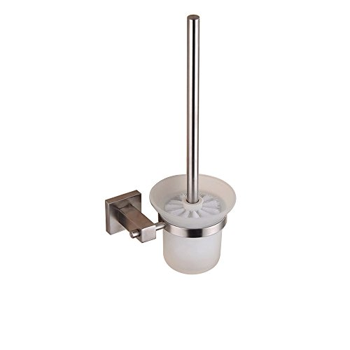 Bathroom Toilet Brush with Holder Wall Mount, SUS304 Stainless Steel Holder Brushed Finish