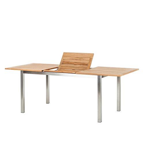 tavolo da giardino teak CHICREAT - Tavolo da pranzo allungabile per il giardino