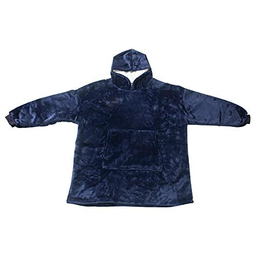 SHENGX Sudadera con capucha de gran tamaño, manta de forro polar, suave, cálida, cálida, gigante, manta térmica, talla única, para hombres, mujeres, niñas, niños, amigos, azul