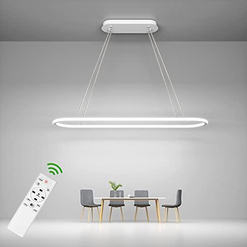 Anten LED Pendelleuchte CUPID, dimmbare Hängeleuchte 45W mit Fernbedienung, 4500LM, 3 Farbtemperaturen, Memoryfunktion, Höhenverstellbar, moderne 90cm weiße Hängelampe für Küche, Esszimmer, Büro usw