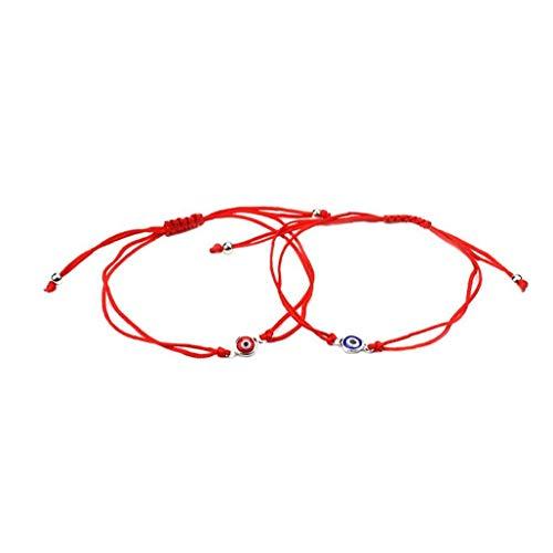 2 Pcs Pulsera Del Ojo Malvado Afortunado Brazalete De La Trenza De Ojos Cordón Ajustable Cuerda Pulsera Pulsera De La Amistad Conjunto De Joyería De Artículos Hombres Mujeres Rojo Azul Personales