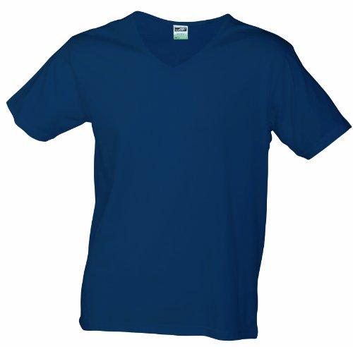 JAMES & NICHOLSON T- Shirt Slim Fit V-Neck, Bleu (Navy), (Taille Fabricant: Medium) Homme