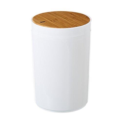 Papelera para baño de Poliestireno, tapa en Madera de Bambú Natural.