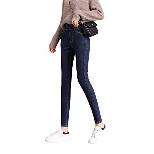 Pantalones Vaqueros Ajustados para Mujer Pantalones de Mezclilla Retro Lavados de Cintura Alta elásticos de Color sólido con Bolsillos 30