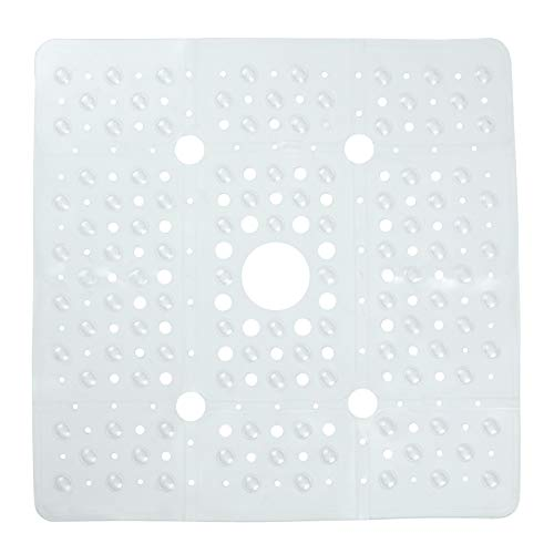 SlipX Solutions Extra Large Square Shower Mat, 27 x 27 Inches, Provides More Coverage & Non-Slip Traction (100 Suction Cups, Great Drainage, Clear)