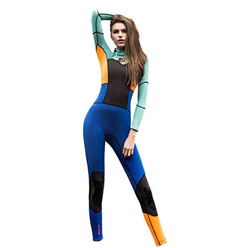 AIni Damen Neoprenanzug,Sport 1.5mm Tauchanzug Ganzkörper Tauchanzug Surf Schwimmoverall Wetsuit Schwimmen Surfanzug Surfen Tauchen Schnorcheln(S,Orange)