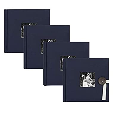 DesignOvation Kim Fabric Photo Albums with Ribbon and Button Closures, Holds 200 4x6 Photos, Set of 4, Navy Blue