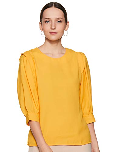 KRAVE Women's Solid Regular Top (SS19KRAVEPATCHY_YW_Yellow L)