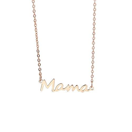 Yaowo Collar con Colgante De Madre Exquisita De, Collar con Letras De Acero Inoxidable, Regalo para El Día De La Madre para Mujer (Rosa)