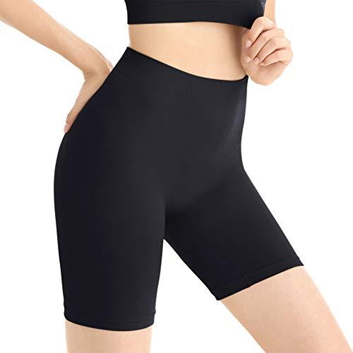 Amazingjoys Damen Unterhosen Shorts Panty Boyshort Unterwäsche Short Miederpants Miederhose Elastisch , Schwarz , (Für Taille 87-93 cm) 3XL