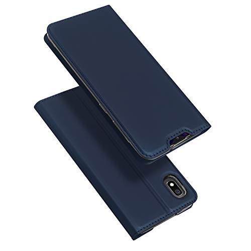 DUX DUCIS Hülle für Samsung Galaxy A10, Leder Flip Handyhülle Schutzhülle Tasche Hülle mit [Kartenfach] [Standfunktion] [Magnetverschluss] für Samsung Galaxy A10 (Blau)