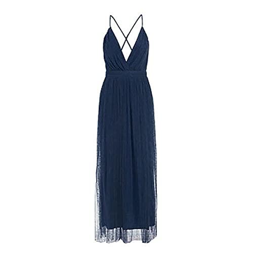 QXXKJDS Vestido de noche con cuello en V profundo para verano, sin espalda, color rosa, elegante, vestido de noche, vestido largo de fiesta, para mujer (color: azul marino, tamaño: M)