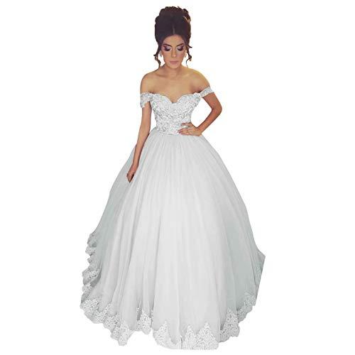 Fankeshi Damen Sexy Schulterfrei A-Linie Spitze Applique Ballkleid Tüll Brautkleid Brautkleid Hochzeitskleid - Weiß - 36