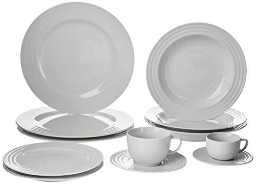 Serviço de Jantar Chá Café 42 peças em Porcelana. Modelo Redondo com Relevo Arcos. Branca com Relevo. Fabricado pela Schmidt.
