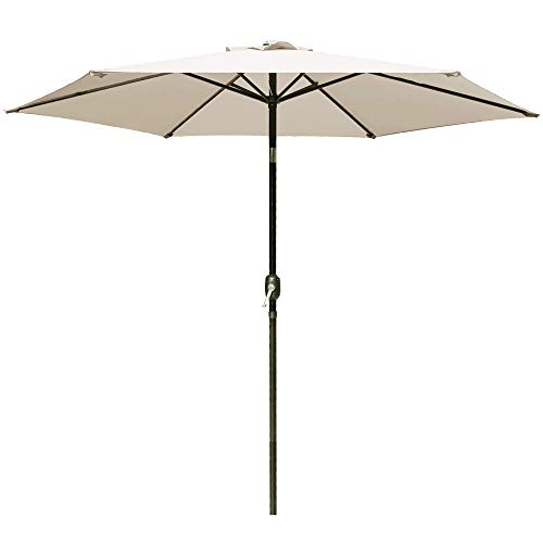 DOIFUN 9ft Patio Umbrella Aluminum Outdoor Umbrella Market Table Umbrellas with Push Button Tilt, Crank and 6 Sturdy Ribs for Lawn, Garden, Deck, Backyard & Pool, Beige
