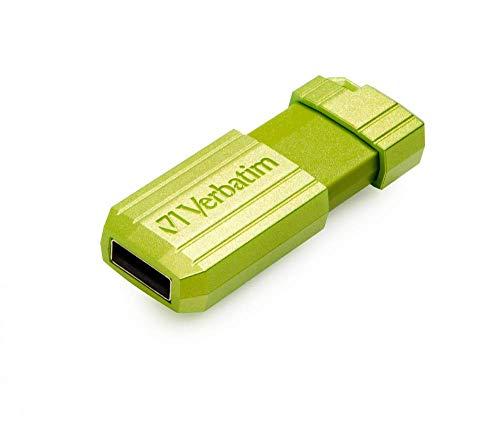 Verbatim PinStripe USB-Stick 16GB I USB 2.0 I USB Speicherstick I für Laptop Notebook Ultrabook TV Autoradio I USB 2.0 Stick I Datenstick mit Schiebemechanismus I Eucalyptus Green