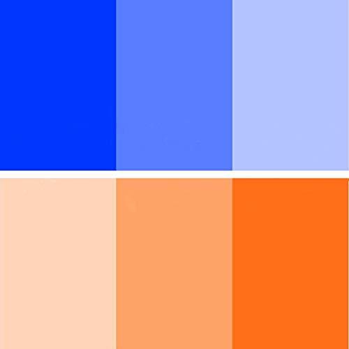 Color Correction Gel Filter 6 Pack 16x20 inches Blue Orange Photography Lighting gels Sheet for Photo Studio Flashlight Led Light