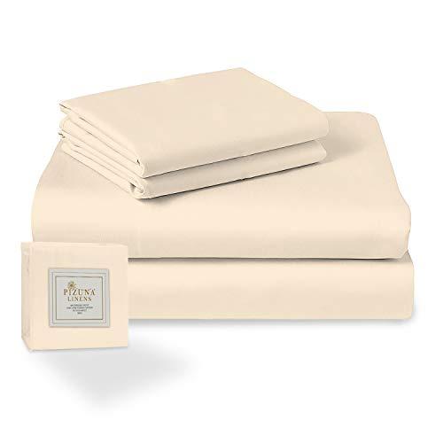 Pizuna Set Singolo di lenzuola Beige 160x200 cotone 100% fibra lunga. Il set di lenzuola per letto in cotone in satin morbido include 1 lenzuolo con angoli, 1 lenzuolo piatto e 2 federe per cuscini.