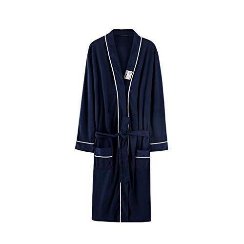 Bademantel NAN Liang Paar for Herren und Damen Long-Hülsen-Baumwollanzug Pyjamas Nachtkleid -2 Farben 5 Größen (Color : Blue, Size : XXXL)