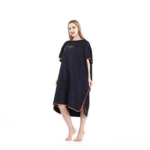 Jian Ya Na mikrofibra surfing plaża kombinezon nurkowy płaszcz szybkoschnący płaszcz zmieniający się ręcznik kąpielowy ponczo z kapturem - jeden rozmiar pasuje do wszystkich (czarny)