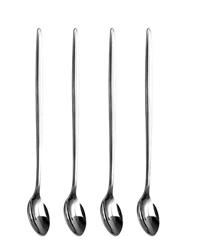 SHINE Pack of 4 Latte Spoons - Long Handle Stainless Steel Spoon - Ideal For Coffee Cafe Latte, Espresso, Hot Chocolate,Hot Drinks, Dessert