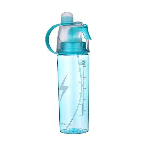 YIXINYOUPIN Deportes creativos botella de agua Spray de refrigeración taza de agua para estudiantes llevar al aire libre Unisex taza azul 600ml