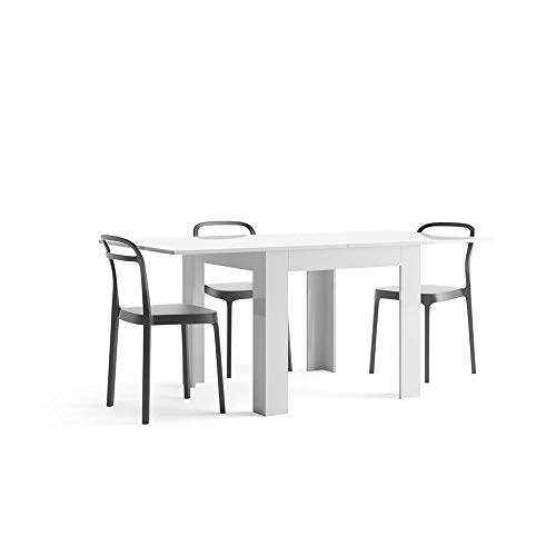Mobili Fiver, White gloss square extending dining table, Eldorado, Laminate-finished, Made in Italy
