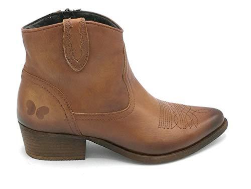 Felmini B504 Stiefelette Texano Leder Stickerei Englisch Reißverschluss 3 cm W - Schuhgröße 42 EU Farbe Leder