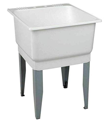 Utility Sink Laundry Tub Floor Mount Single Faucet Wash Bowl Basin