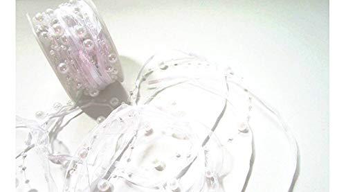 CaPiSo 10m Schleifenband mit Organza und 4mm Perlen,Perlenband,Geschenkband,Trendyband,Perlen am Band (Weiß)