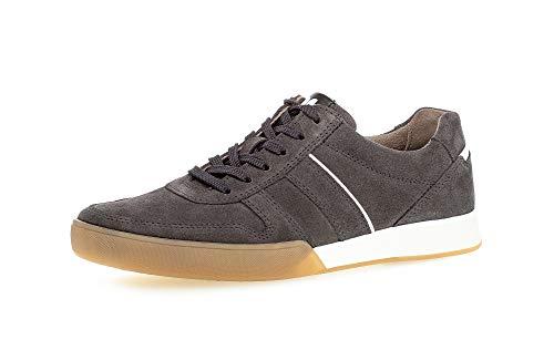 Gabor Pius Herren Halbschuhe, Männer Sneaker Low,zertifiziertes Leder,Latex Wechselfußbett,straßenschuhe,Freizeitschuhe,dk.Grey,40.5 EU / 7 UK