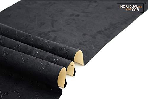 IndividualiseYourCar Mikrofaserstoff selbstklebend - ähnlich Alcantara, Wildleder Optik, Kunstleder - Stretch Folie Stoff (50cm x 146cm (80,81€/m²), Premium Schwarz Diamond)