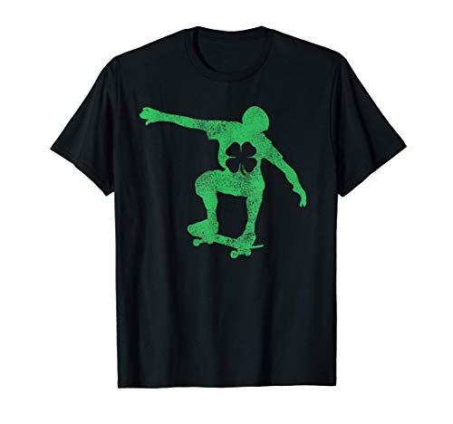 St Patrick's Day Shamrock Skateboard Skateboarding Kids Boys T-Shirt