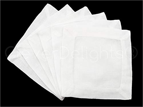 "12 CleverDelights White Linen Cocktail Napkins - 6"" x 6"" - 100% Pure Linen - Beverage Coaster Napkins"