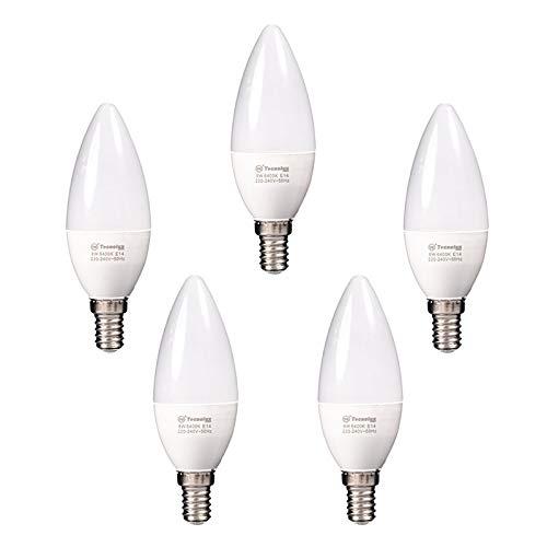 LED-Kerzenlampe, E14, 8 W, C38, kaltweiß, 6400 K, 640 lm, 5 Stück