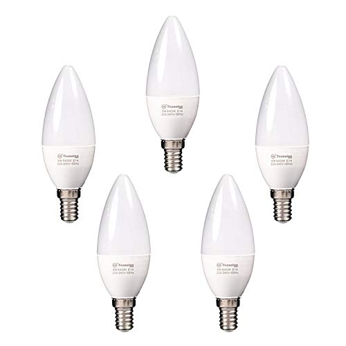 Lampadina LED E14 a candela, 8 W, C38, bianco freddo, 6400 K, 640 lm, 5 pezzi