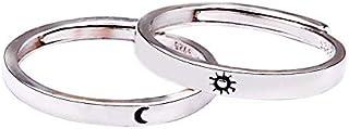 Anillo para parejas para mejor amigo, sol, luna, plata de ley 925, regalo para mujer