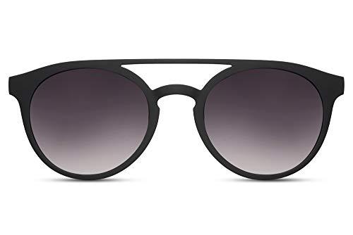 Cheapass Gafas de Sol Mate Negras De Goma Redondas Puente Doble Parte superior Vintage Retro Gafas de Sol Gradual Lentes Protección UV400 Hombres Mujeres