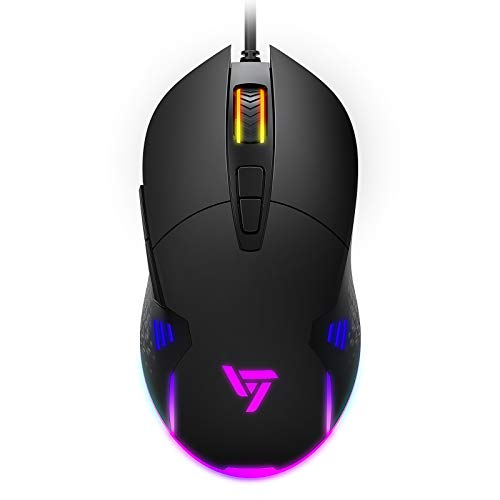 VictSing Wired RGB Gaming Mouse 8000 DPI, Ergonomic Gaming Mouse with Programmable Side Buttons Double Click for PC Computer/Laptop/Windows/Mac/PS4/Xbox, 7 Buttons Black