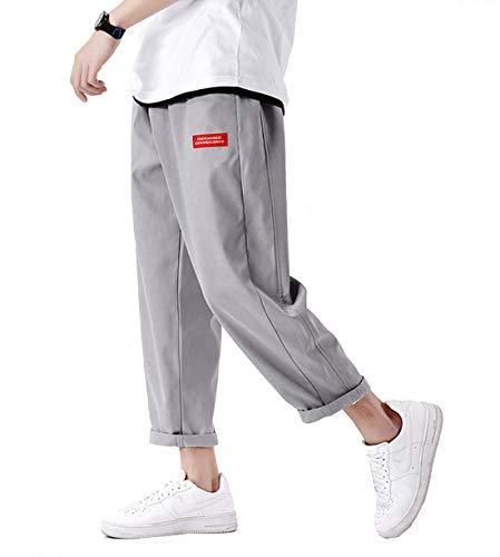 サルエルパンツ メンズ ズボン ワイドパンツ メンズ 夏服 ズボン 9分丈 無地 調整紐 ゆったり 通気性 大きいサイズ カジュアル 袴パンツ 快適 ワイドパンツ オールシーズン対応 Gray 3XL