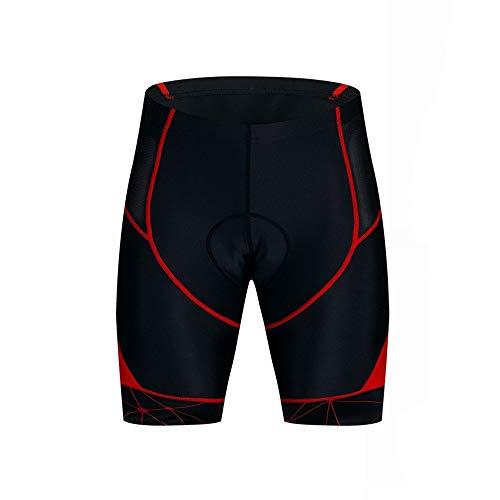 Lzcaure Pantalones cortos de ciclismo 4D acolchados ropa interior de secado rápido transpirable MTB Sports Gym Ciclo Shorts (color rojo, tamaño: XXL)