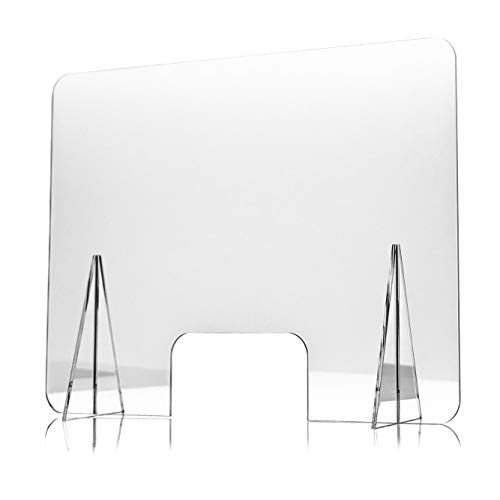 Mampara de Metacrilato para Mostrador, 70 x 50 x 0.3 cm, 100% Transparente con Ventanillas de 30 x 20 cm y 2 Soportes, Mampara de Protección para Mostrador y Mesa, Grosor de 3 mm